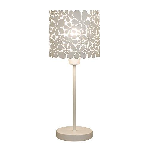 WSHFOR Lampada da tavolo moderna in ferro battuto bianco minimalista, paralume in metallo design scolpito E27, lampada da comodino della camera da letto del soggiorno