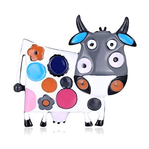 FSXZM Cartoon Tier Emaille Pins Kuh Rinder geformte Broschen Rucksack Brosche Pin für Kleidung Kragen Tasche Jacke Zubehör DIY Craft,Grau