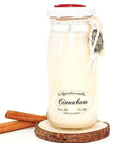 Lilygardencandles - Vela aromática (Aroma de Caracol de Canela en Botella de Leche, Vela de Cera de Soja con un Tiempo de combustión de 56+ Horas)