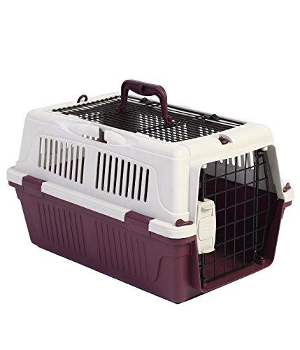 Dehner Hunde- oder Katzen Transportbox Robbi, ca. 50 x 33 x 29 cm, Kunststoff/Metall, rot/grau