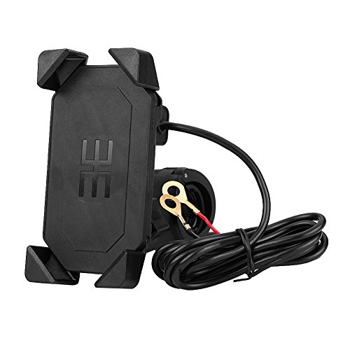 2 in 1 Motorradhalter Fahrrad Handyhalterung tragbarer Motorradlenker Handy GPS Halterung USB Ladegerät 360 ° verstellbar Universal für 4,7 '' -6 '' Handy