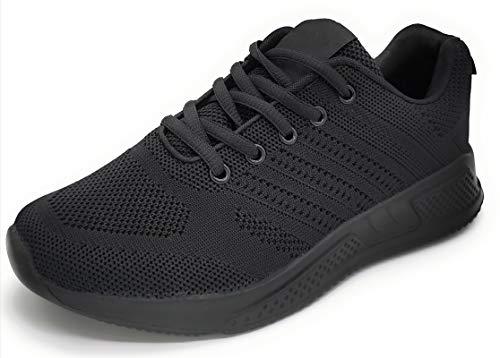 Sportschuhe für Damen, atmungsaktiv, leicht, Mesh, zum Laufen, Wandern, Arbeiten, Schwarz - Schwarz Lack - Größe: 38 EU