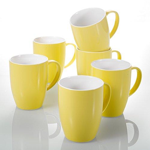 Panbado, Porzellan Kaffeetassen Set 370 ml, 6-teilig Kaffeebecher, Gelb + Weiß, Großer Kaffeepott