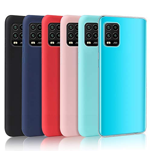 Oureidoo [6 Stücke] Xiaomi Mi 10 Lite 5G Hülle, Handyhülle für Xiaomi Mi 10 Lite 5G, Handy Hülle in Schwarz + Blau + Rot + Rosa + Minzgrün + Transparent