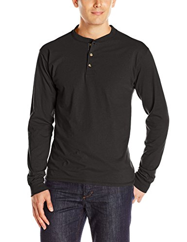 Hanes Men's Long-Sleeve Beefy Henley Shirt, Ebony, 2X Large