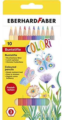 Eberhard Faber 514810 - Colori Buntstifte in 10 Pastell Farben, hexagonale Form, im Kartonetui, zum Malen, Illustrieren und Zeichnen