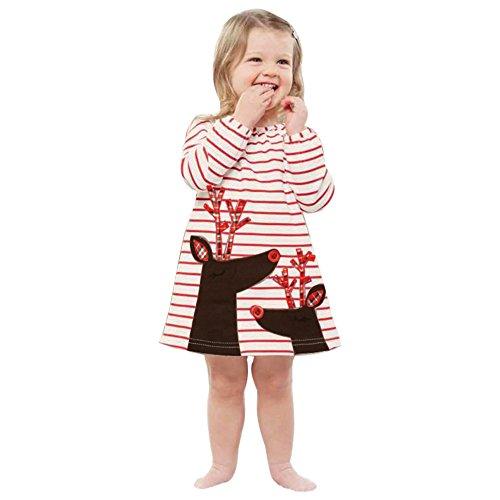 K-youth® Baratas Bebe Niño Ropa Bebe Niña Invierno Navidad Venado Rayas Manga Larga Vestido (2-3 años, Blanco)