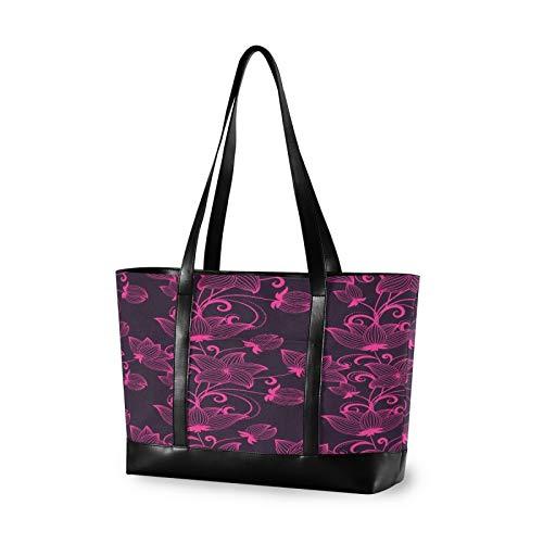 Art Purple Floral Pattern 14 15 15.4 15.6 inch Laptop Tote Bag for Women Large Lightweight and waterproof Computer Handbags Laptop Shoulder Messenger Bag