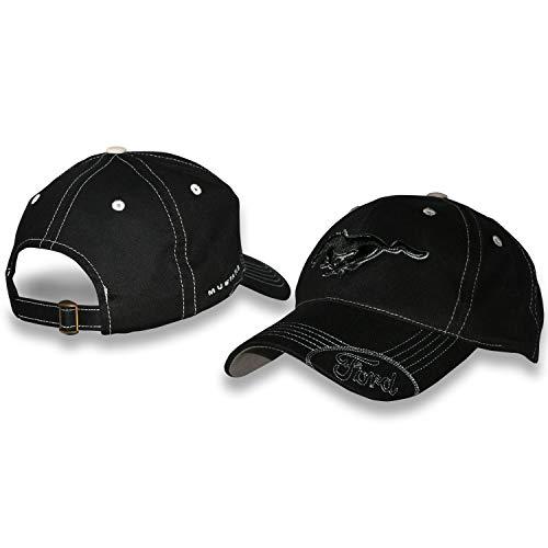 Ford Mustang-Mütze mit silberfarbener Naht, Schwarz
