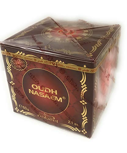 Nabeel Nasaem 60 Gram Oudh Woodchips Incense Bakhoor for Charcoal or Electric Mabkarah Burner Authentic Made in UAE