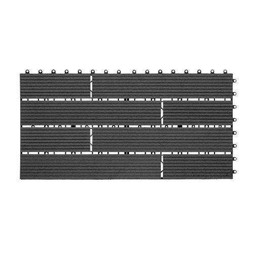 WPC Terrassenfliesen 1 Stück Bodenfliesen Terrassenbelag Klickfliese (30 x 60 cm Versetzt, Anthrazit)