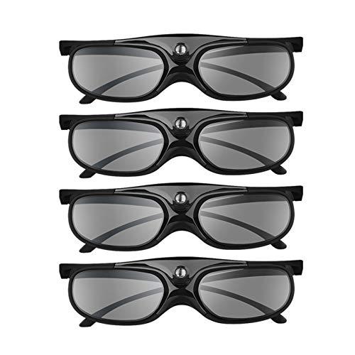 BOBLOV DLP Link 3D Glasses Active Shutter 4 Pack, 144Hz Rechargeable 3D Glasses for DLP 3D Projectors, Compatible with Optoma, Samsung, BenQ, Dell, Acer, Vivitek, NEC, Sharp (Black)