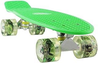 لوح تزلج كامل مقاس 55.88 سم مع عجلات مضيئة LED ملونة للمبتدئين باللون الأخضر من كولبيبي