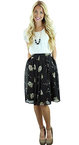Mikarose Pleated Full A-Line Modest Skirt In Black w/Cream Floral Print