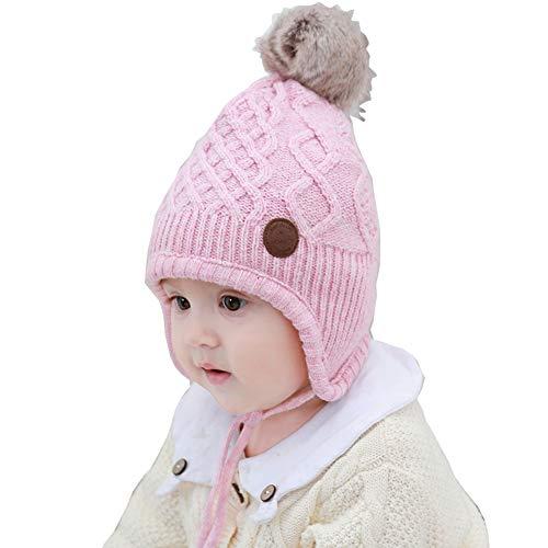 AHAHA Gorro Bebe Sombrero de Orejera niña de Invierno Sombreros de Punto Pompom