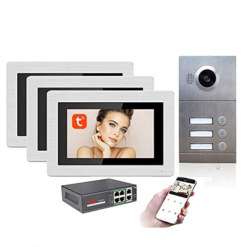 Timbre con video Tuya WiFi, intercomunicador con videoportero con monitor de 7 pulgadas, cámara de seguridad con visión nocturna POE, desbloqueo remoto de la APP,3 apartments