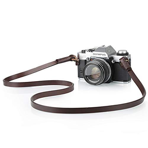 TARION Camera Strap Leather Vintage DSLR Camera Neck Straps Belt Handmade Genuine Leather Film Camera Shoulder Strap Cord Long Slim Thin for SLR Mirrorless Cameras L3 Brown