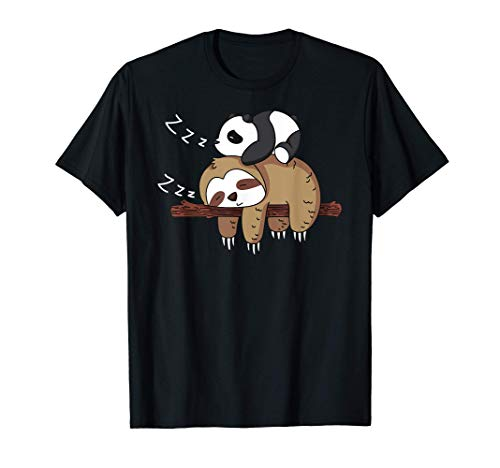 Netter Panda Schlafen auf Faultier Design Faultier T-Shirt