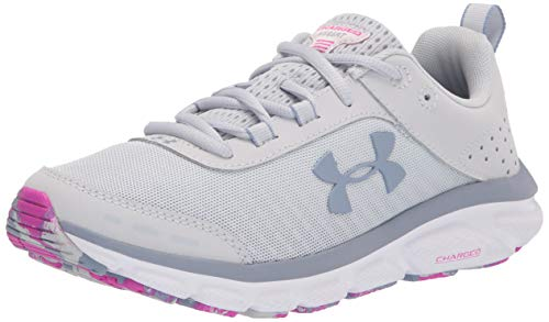 Under Armour womens Charged Assert 8 Marble Running Shoe, Halo Gray (100 White, 8.5 US