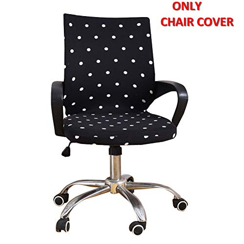 Deisy Dee Universal Computer Office Rotating Stretch Polyester Mid Back Function Chair Cover C111 (White dots)