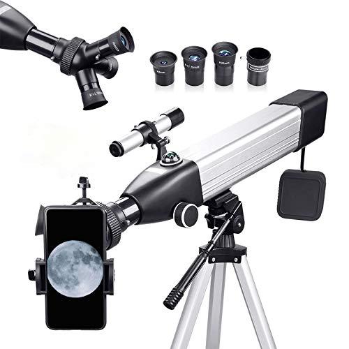 Teleskop Astronomie 167X 60/500 Fernrohr Teleskop für Kinder Einsteiger Amateur-Astronomen, mit Aluminium Stativ Smartphone Adapter