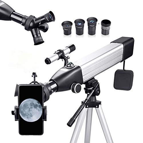 Telescopio para niños principiantes 167X - Dispositivo trinocular - Telescopio refractor astronómico 500x60mm con adaptador para...