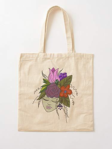Garden Green Hair Flower Girl Lady Fairy Elf Goddess Tote Cotton Very Bag | Bolsas de supermercado de lona Bolsas de mano con asas Bolsas de algodón duraderas