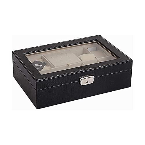 LSLS Caja joyero Caja de joyería de una Sola Capa Almacenamiento de joyería Bandeja extraíble Caja de Reloj para Pendientes Pulsera de Anillo - Negro Organizador de Joyas