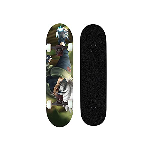 XFLYX NARUTO Hatake Kakashi Anime Skateboard, Mini Cruiser, 7 capas Maple Deck Skateboard, carga 100 kg, principiante Road Street Scooter