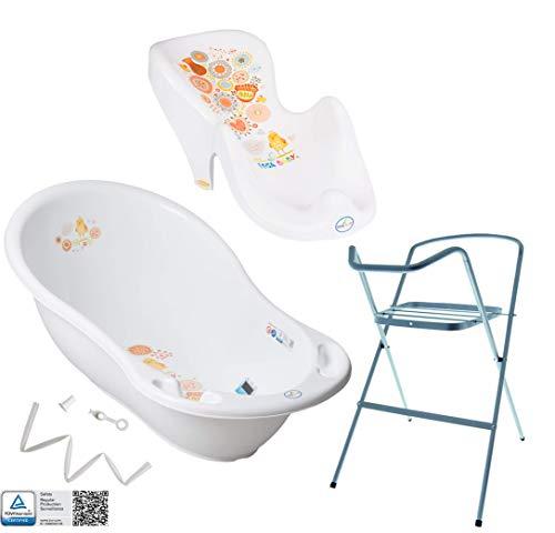 Tega Baby baignoire pour bébé support vidange siège de bain, Motif:Folk - blanc, SET:SET4-silver