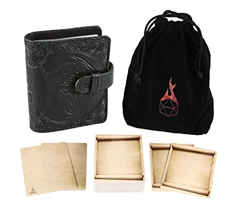 Forged Dice Co Spellbook of Incantations (Dragon Edition) Spellbook Card Holder & Deck of Dry Erase Cards with Velvet Storage Bag - Storage for D&D Spell Book Monster Magic Item Cards