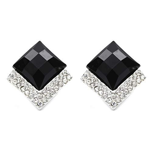 Joyería Idin–negro facetado con forma de diamante y cristal Clip en pendientes