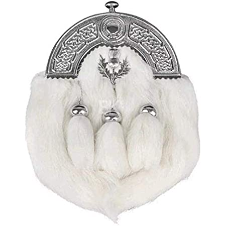 100% Leather White Rabbit Fur 3 Tassels Scottish Brass Cantle Sporran with Belt
