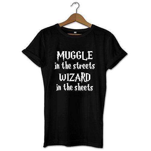 T-shirt fantaisie pour homme avec inscription « Muggle in the streets, Wizard in the Sheets » - Cadeau idéal - Tailles et couleurs disponibles - Noir - XXL
