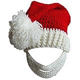 Kafeimali Unisex Christmas Winter Knitted Crochet Beanie Santa Hat with Beard Foldaway Bearded Caps (White)