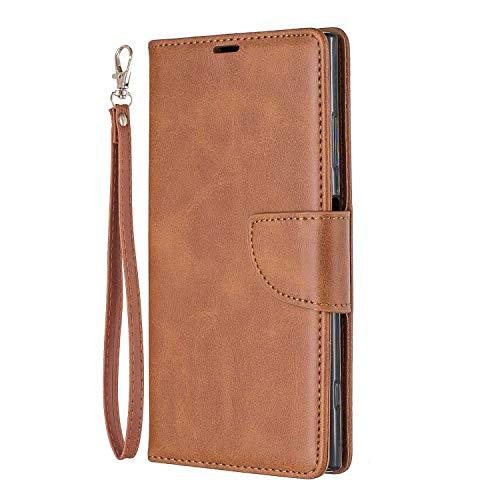 Bear Village® Hülle für Sony Xperia XA1 Plus, PU Premium Leder Flip Handyhülle, Schutzhülle mit Ständer Funktion und Card Holder, Braun