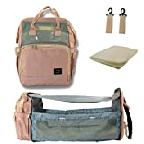 Nomad Babies Diaper Bag Backpack with Portable Bassinet and Changing Station Baby Essentials Travel For New Mom and Dad Gift (Pink/Grey)