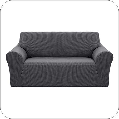 UMI. by Amazon Stretch Sofabezug Sofaüberzug Jacquard Sesselbezug Sofahusse Couchhusse Wohnzimmer 2-Sitzer Grau