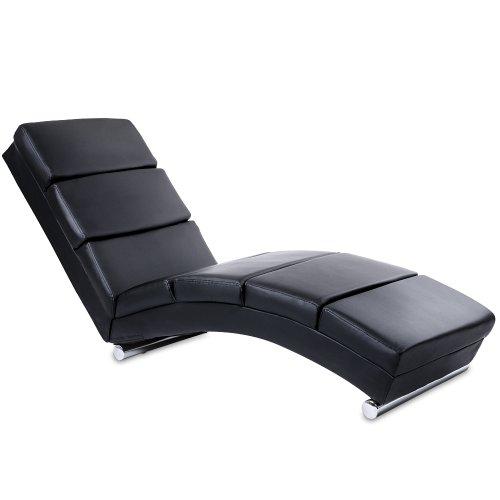 MIADOMODO Chaise Longue - 154x51x73 cm, in Similpelle, Imbottito, con 7 Cuscini di Appoggio, Nero - Lettino Relax, Sedia a Sdraio, Lounge, da Soggiorno