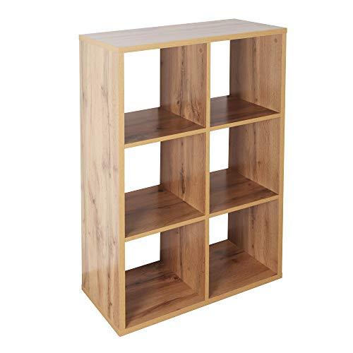 RICOO WM079-EW Estantería 107 x 73 x 33 cm Estante Librería Moderna Biblioteca Muebles de hogar Mueble almacenaje 3 Niveles Color Madera Roble marrón