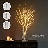 LITBLOOM Lighted White Twig Branches with Timer and Dimmer Tree Branch with Warm White Lights for Holiday and Party Decoration 32IN 150 LED Waterproof Plug in