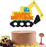 BeYumi Construction Truck Birthday Cake Topper for Kids, Excavator Party Cake Decoration Supplies