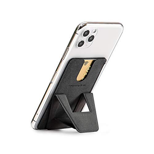 FoldStand phone スマホスタンド 折りたたみ 卓上 軽量 極薄 スマホホルダー スキミング防止カードケース スマホ スタンド 携帯スタンド 寝ながらスマホ スマホ立て スマートフォンホルダー iPhone Xperia Galaxy HUAWEI AQUOS (ダークグレイ)