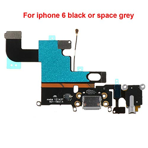 Afeax OEM Charging Port Dock Connector Flex Cable/Microphone + Headphone Audio Jack Port Ribbon Replacement Part Compatible iPhone 6 4.7' All Carriers (Black/Space Gray)