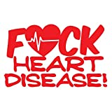 Bamfdecals FCK Heart Disease Cardiac Rythm Detailed Automotive Grade Die-Cut Vinyl Decal - Small - Red