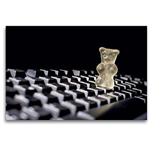 Premium Textil-Leinwand 120 x 80 cm Quer-Format Gummibärchen auf Computer-Tastatur | Wandbild, HD-Bild auf Keilrahmen, Fertigbild auf hochwertigem Vlies, Leinwanddruck von Hans Seidl