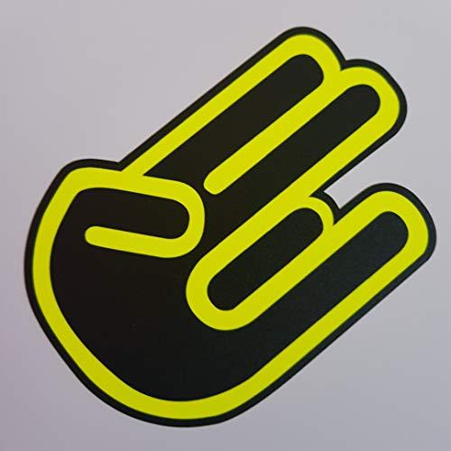 folien-zentrum Pegatinas con diseño de Mano de neón Amarillo y Negro para Coche, Tuning JDM