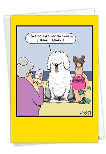 NobleWorks, Blinking Dog - Funny Happy Birthday Card for Dog Owners - Cartoon Humor Card for Birthdays, Girls C3353BDG