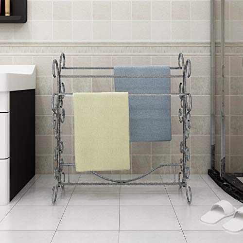 JURMERRY Porta asciugamani da terra porta asciugamani in metallo con 3 barre sul lato superiore,Nero / Argento