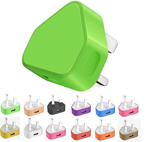 Themax 1000mAh USB UK Plug Charger Adapter By CE Approved Compatible iPhone iPad Samsung Galaxy HTC LG Sony Huawei Motorolla BlackBerry Lenova OnePlus Lava Kindle Etc (Green)